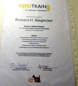 OptiTrain Zertifikat 2 Romana Stieglecker 2018 Hundetrainerausbildung